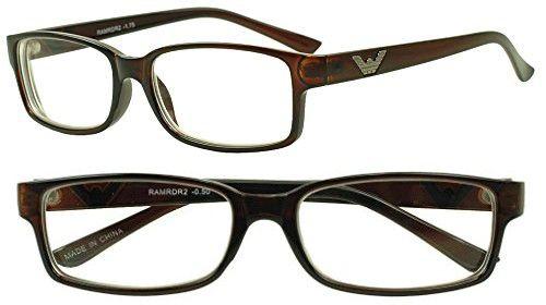 cdde1096175 Sunglass Stop - Original Rectangular Negative Reading Strength Eye Glasses  for Men and Women Readers -.50 -1.00 -1.50 -1.75 -2.00 2.75 (Brown