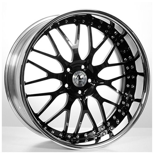 "19""20""22""24""AC Forged Wheels Rims 313 Black face w/Chrome Lip 3 piece"