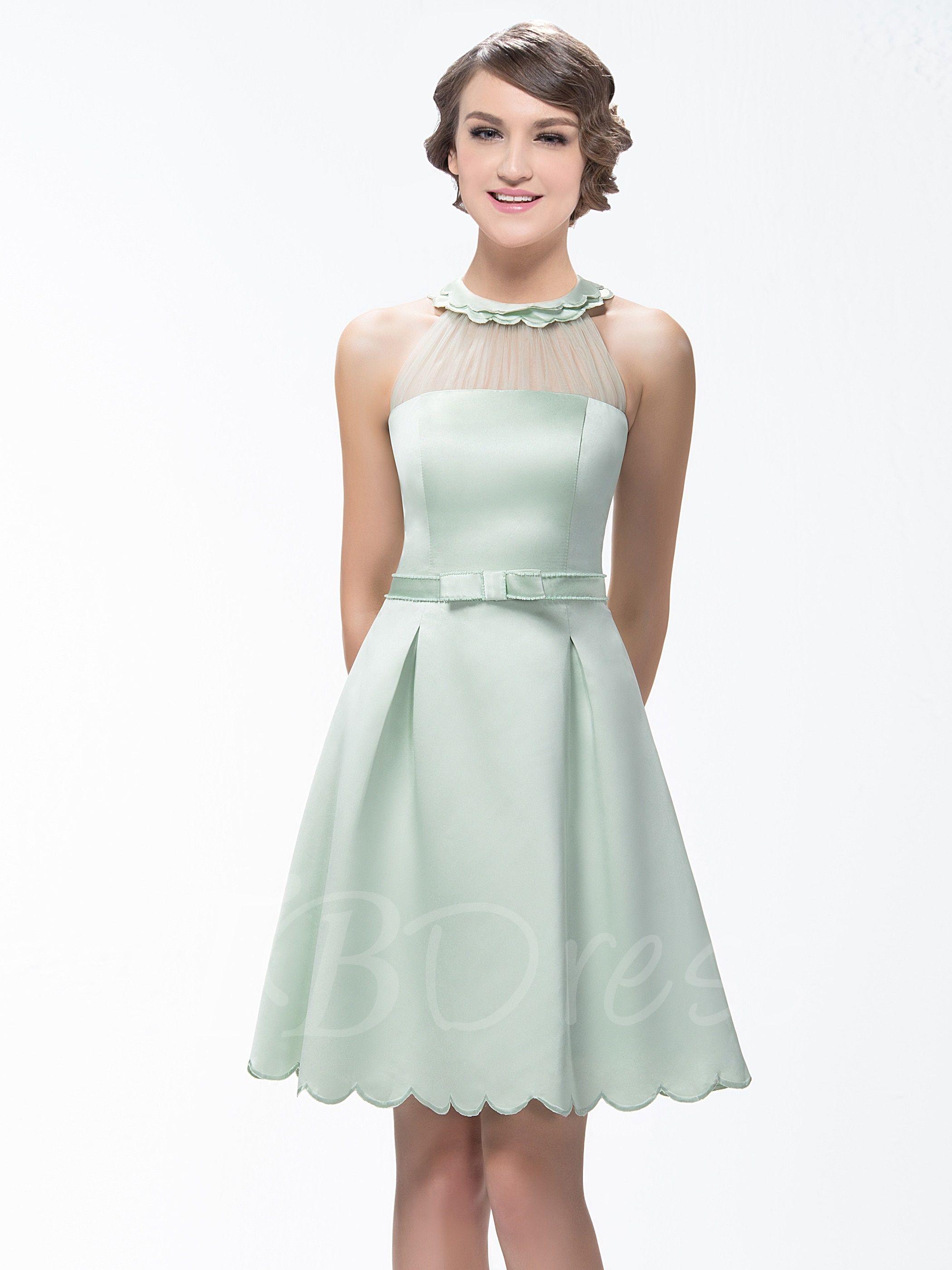 Aline shortmini zipperup scoop neck bridesmaid dress mr u mrs