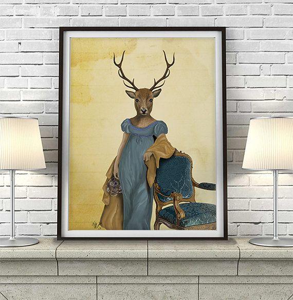 Deer Print  Deer in Blue Dress  deer art print deer painting deer picture jane Austen style print bedroom decor home decor wall decor is part of bedroom Blue Dressers -  FabFunky Ltd  All Rights Reserved
