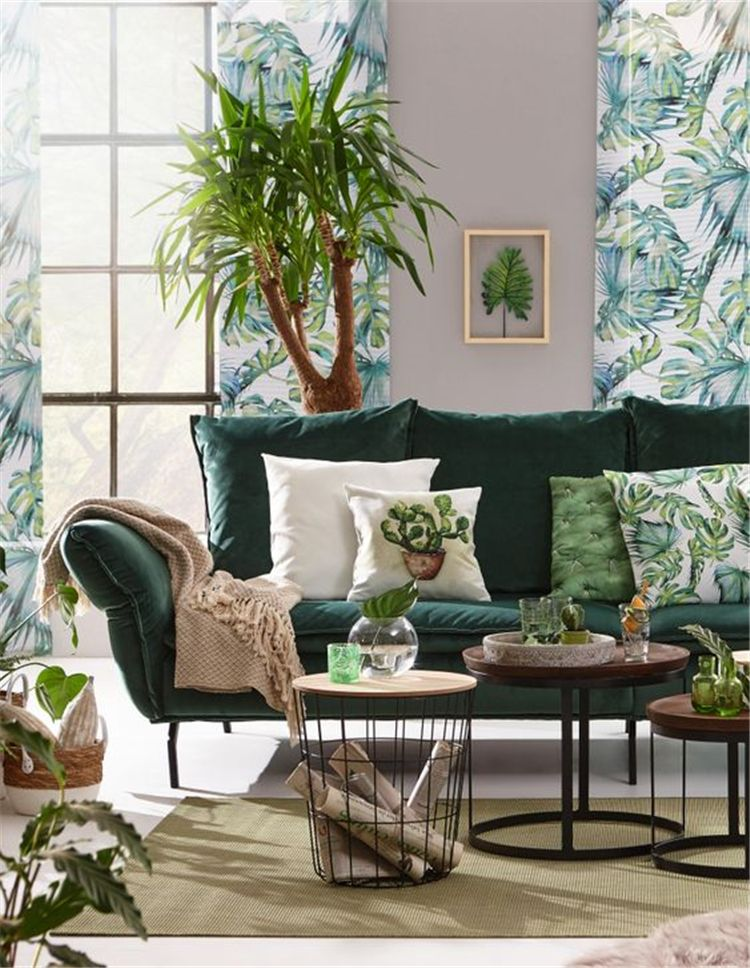 58 Living Rooms Ideas With Combinations Of Grey Green Tropical Home Decor Tropical Living Room Living Room Green #tropical #living #room #design