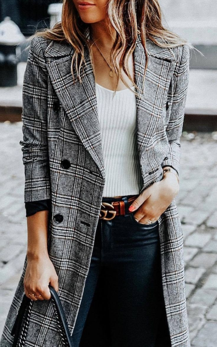 4a091d3a5be cute fall outfit grey coat + white top + black jeans + bag