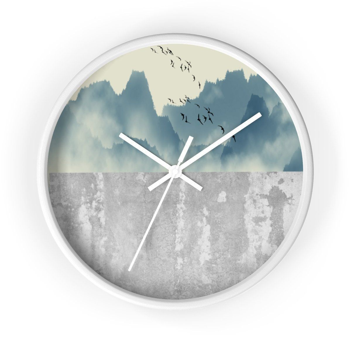 Contemporary Wall Clock, Cement Background, Nature Background, Home Decor images