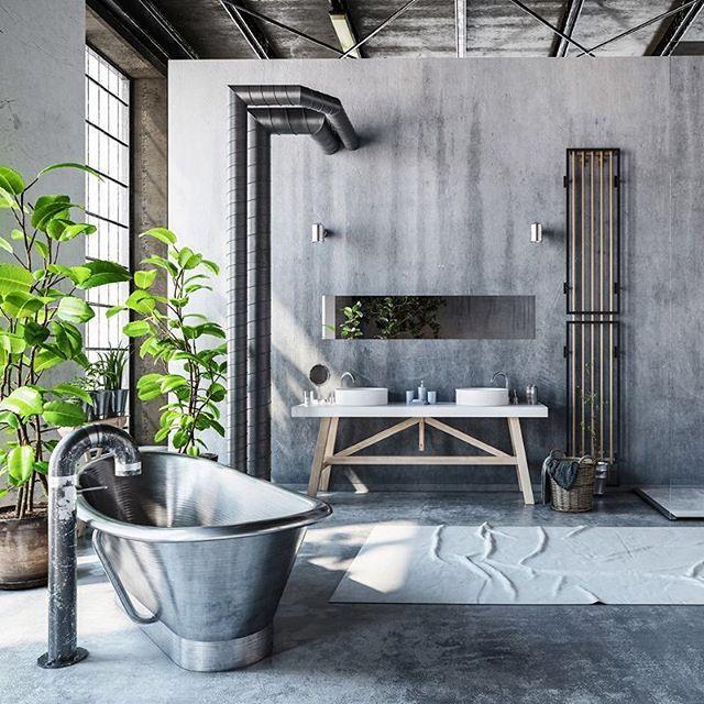 Una de las características básicas de la decoración industrial en - paredes de cemento