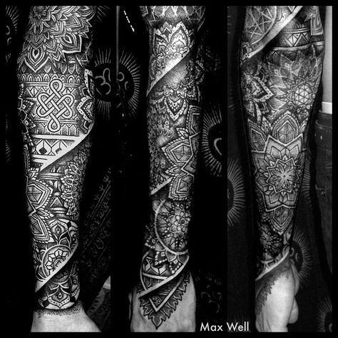 oriental hindi sleeve tattoo tattoos mandala tattoo. Black Bedroom Furniture Sets. Home Design Ideas