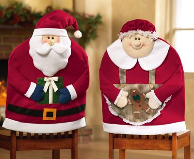 Christmas Mr Mrs Santa Claus Chair Cover Seat Back For Dining Room Home Party Decor Xmas Table Accessory