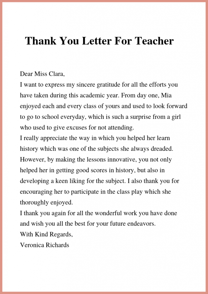 Thank You Letter To Teacher & Principal Letter to