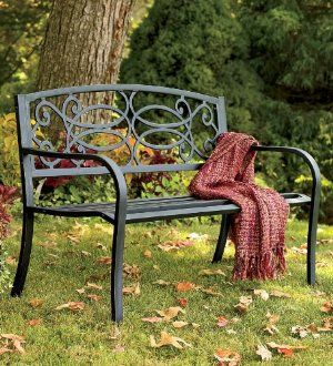 Corrosion Resistant Tubular Steel Scrollwork Bench With Wrought
