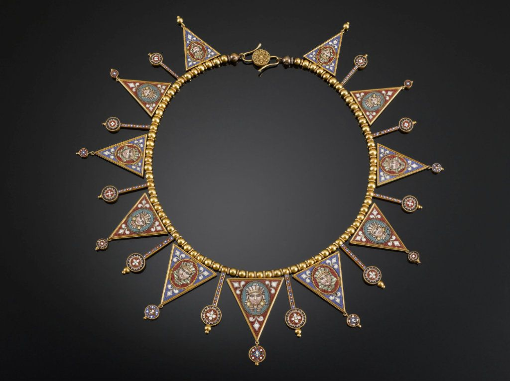 Victorian Micromosaic & Gold Necklace