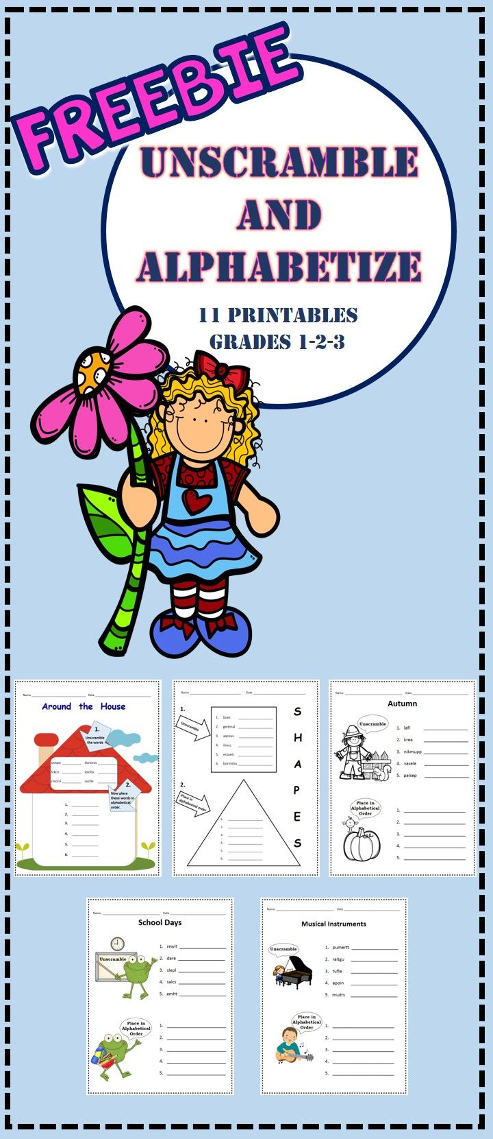 Freebie 11 No Prep Printables Unscramble Words And Place Into Alphabetical Order Grades 1 2 3 Third Grade Sight Words Literacy Activities Creative Teaching [ 1661 x 720 Pixel ]
