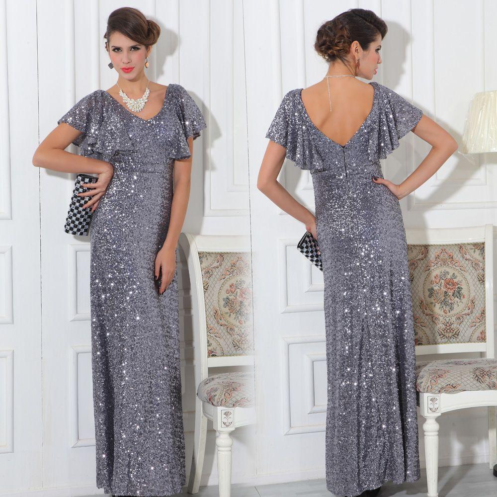 Quality sexy deep vneck evening dress full paillette womenus long