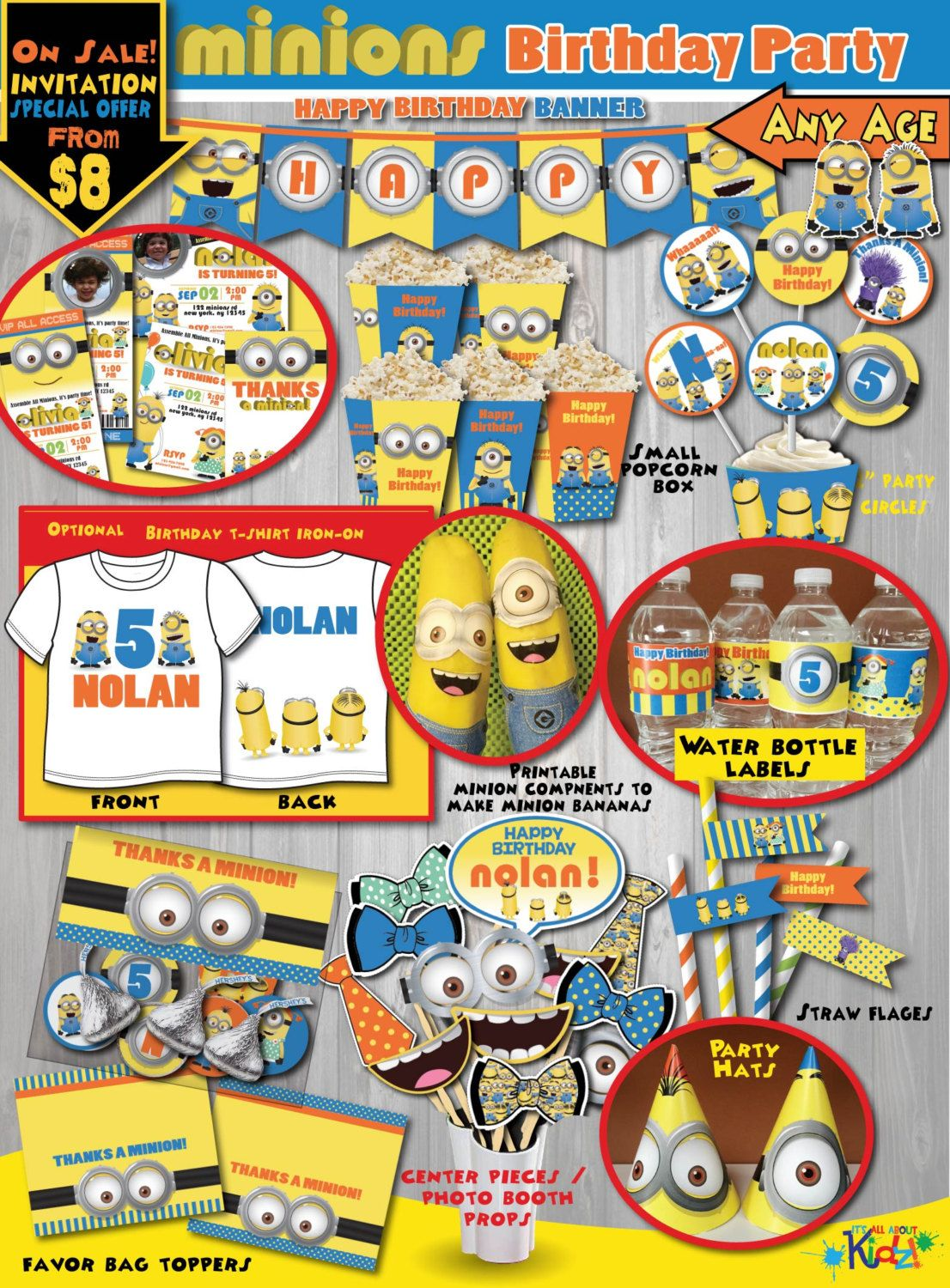 On Sale Minion birthday Package Minion Party DecorationsMinions