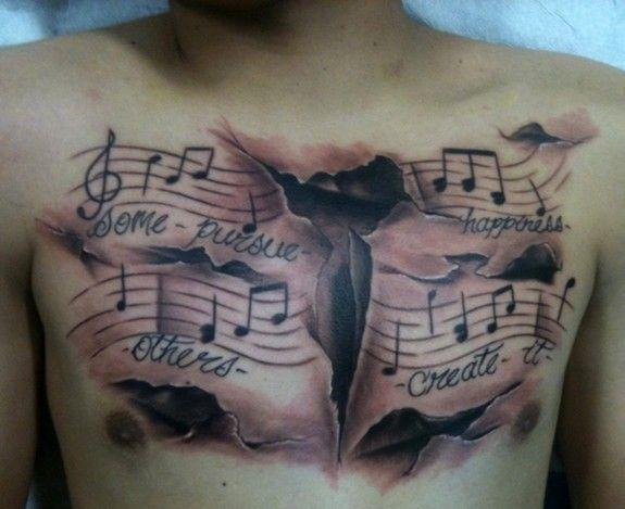 Chest Tattoo Music Tattoos Tattoos Music Notes Tattoo