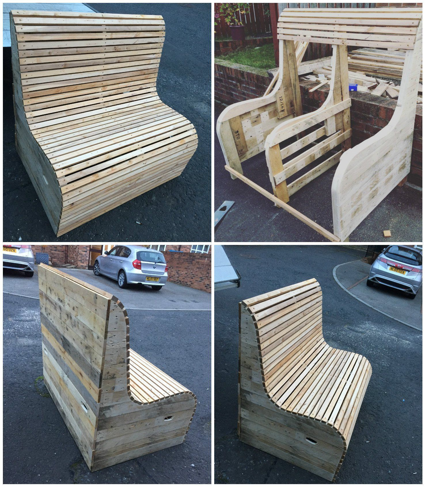 Garden Bench Made From Several Long Length Pallets.