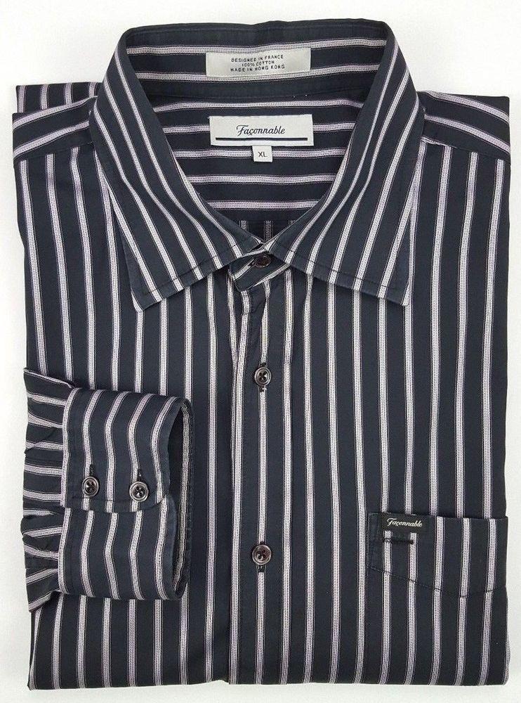 08fcc323 Façonnable Shirt XL Black Mens Striped Multicolor Size Cotton Sz Purple  Silver #Faonnable #ButtonFront