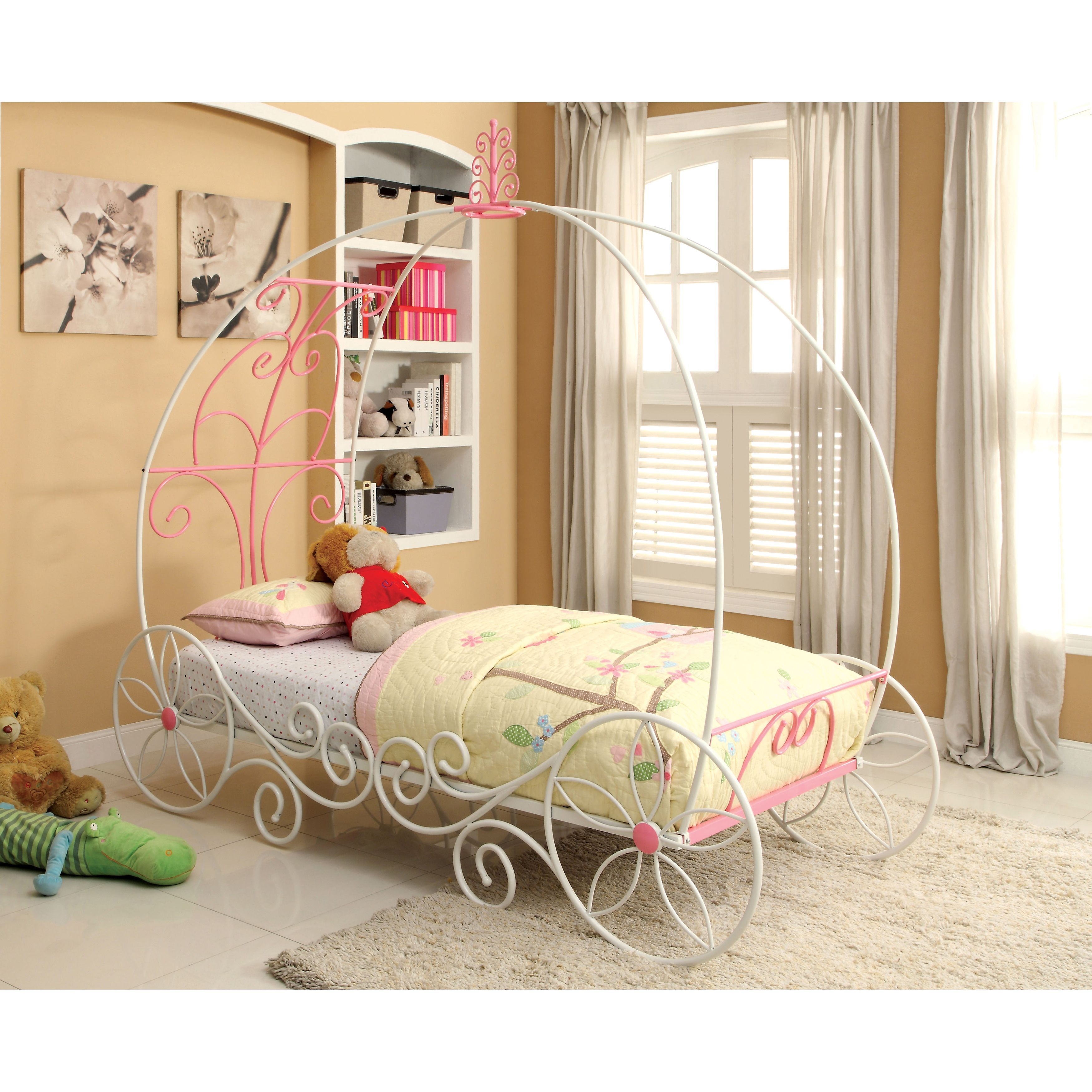Furniture Of America Princess Fantasy Carriage Inspired Twin Metal  # Tuwi Muebles Infantiles