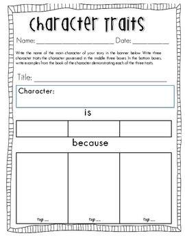 Character Traits Worksheet And Teachers Print Free Character ...