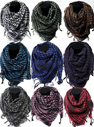 525928b969801 Anuze Fashions 9 Multi color 100 % Pure Cotton Arab Shemagh Head Arafat  Checkered Men's Scarf Scarves Neck wrap