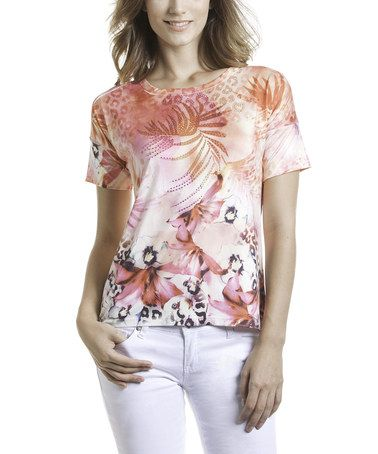 This Peach & Fuchsia Jungle Top by Talïa is perfect! #zulilyfinds