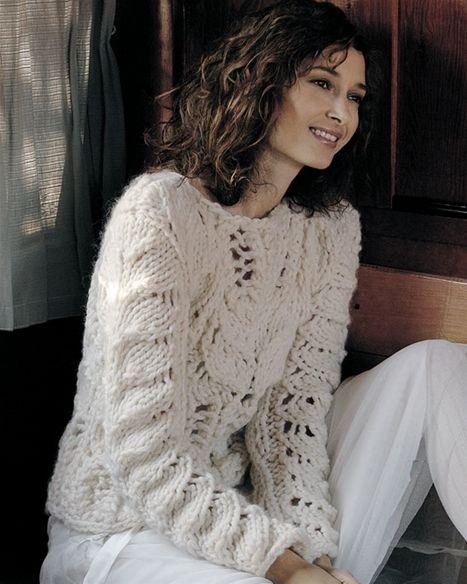 Strik selv: Råhvid sweater med hulmønster - Hendes Verden