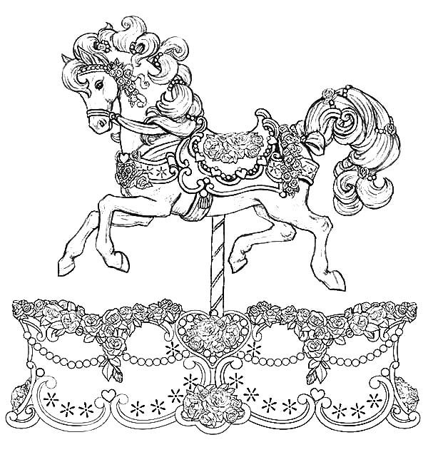 Beautiful Carousel Horse Coloring Pages Jpg 600 648 Horse Coloring Pages Horse Coloring Animal Coloring Pages