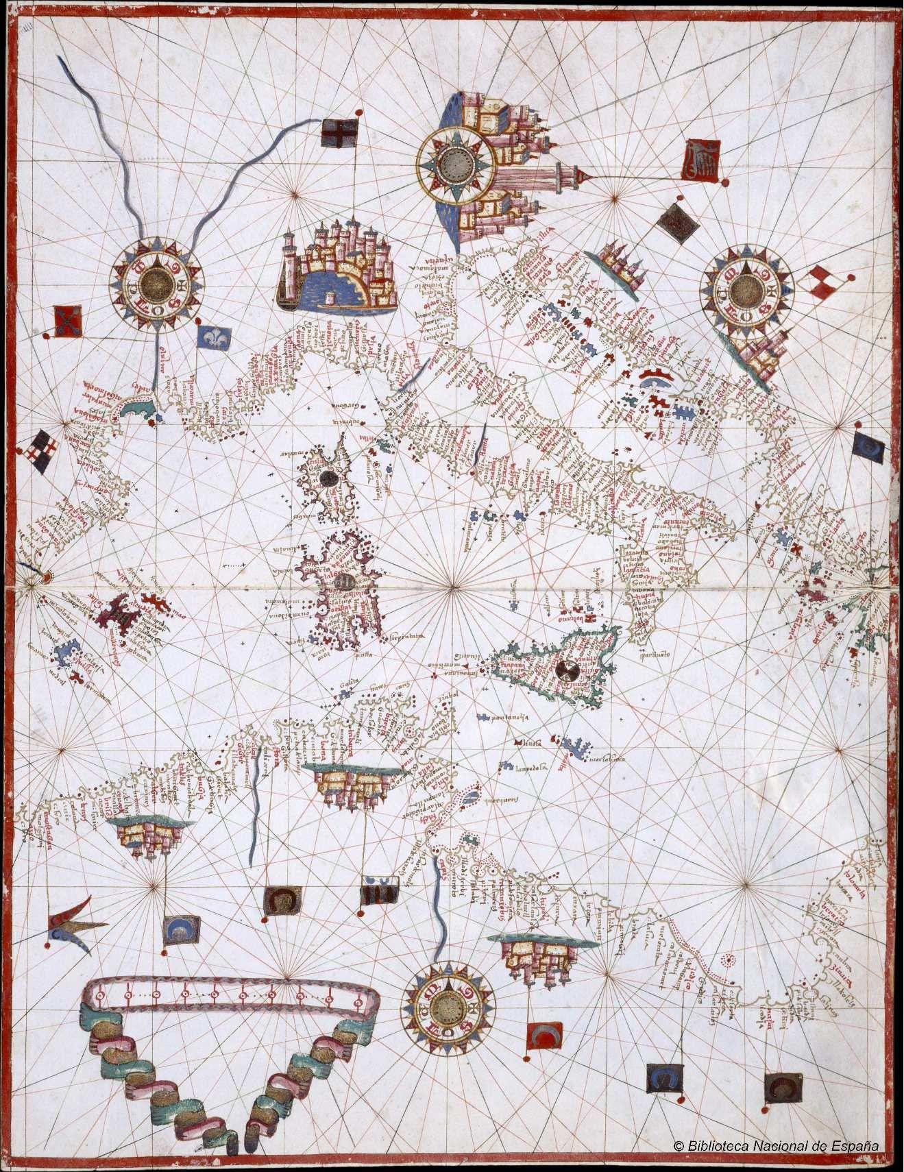 Carta Portulana Del Mar Mediterraneo Cartografico Mapas Antiguos Mapas