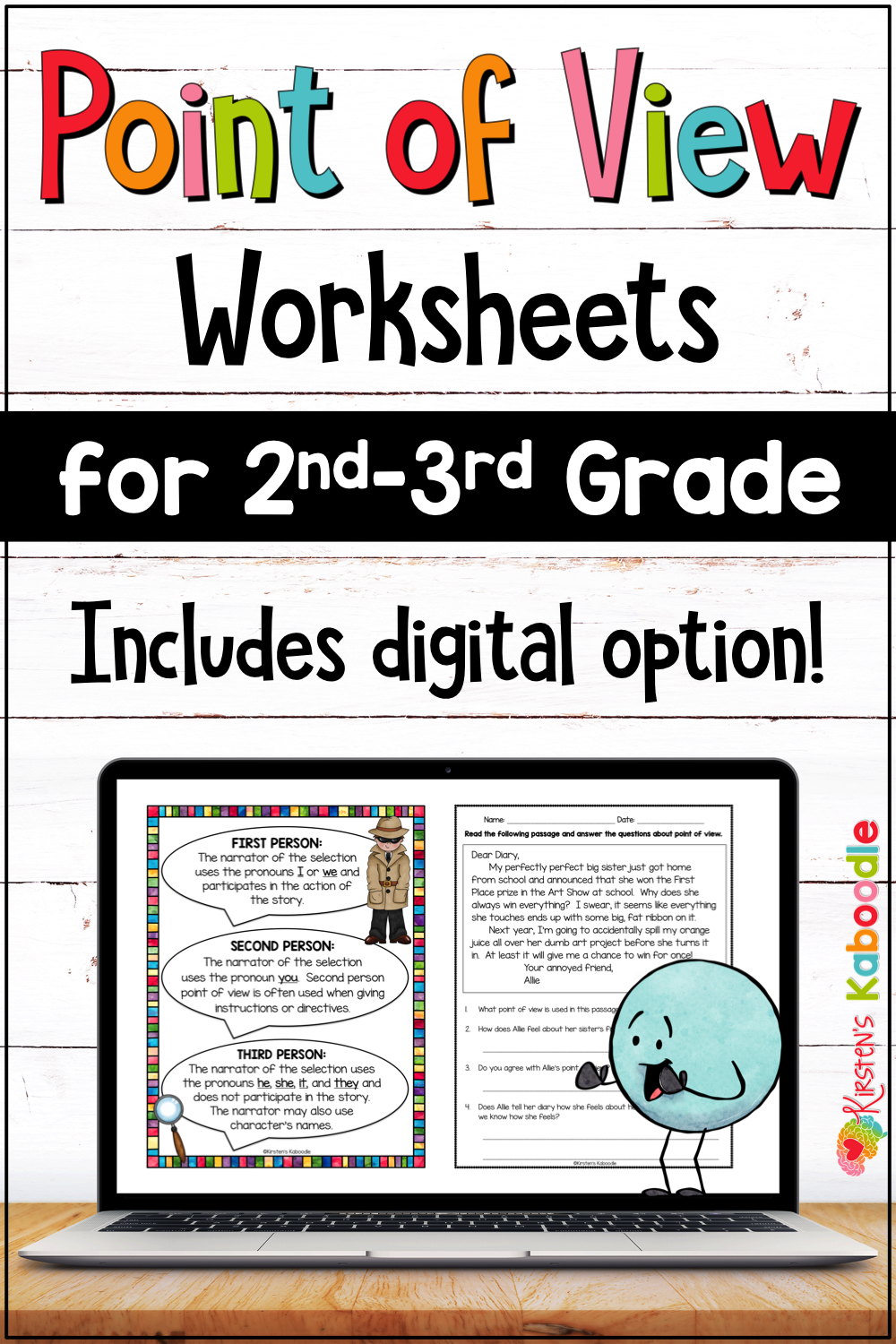 Point Of View Worksheets And Anchor Charts For 2nd 3rd Grade W Digital Option Writing Sight Words Ela Anchor Charts Point Of View [ 1500 x 1000 Pixel ]