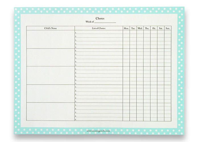 children s chore chart template