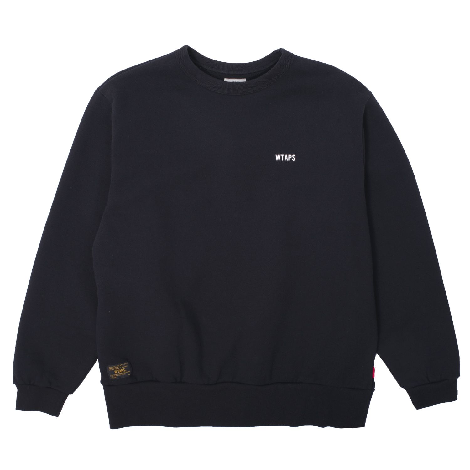Classic Design Crewneck 04 Sweatshirt from Wtaps. This classic piece features heavyweight premium 100% construction with fleece backing, small print at the chest, large unique puff printed cross bones across the back, ribbed collar, cuffs and hem, plus signature Wtaps' branding throughout.