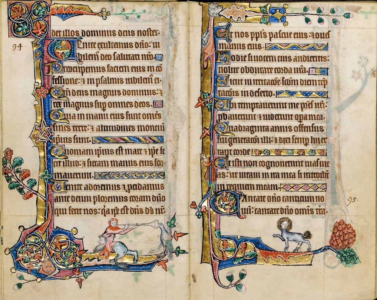 medieval imaginations: literature & visual culture in the middle ages : From the recently rediscovered Macclesfield Psalter (c.1320-30) Opening carries the complete Psalm 94, and first few words of psalm 95 at the bottom of the right leaf.