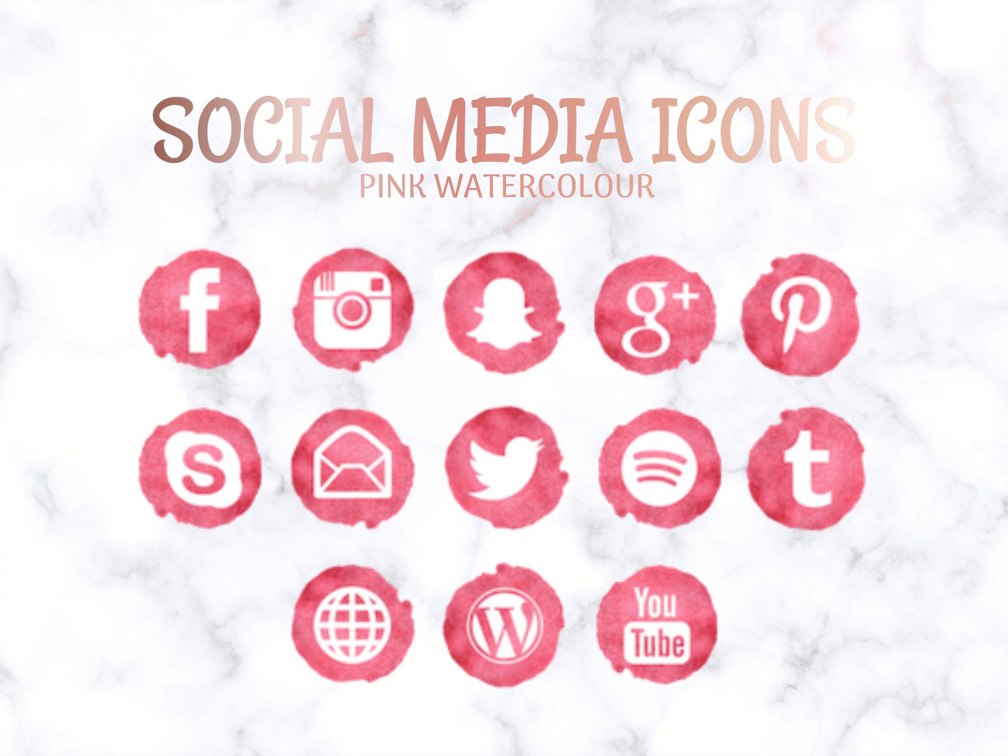 Social Media Icons Pink Watercolour Social Media Buttons