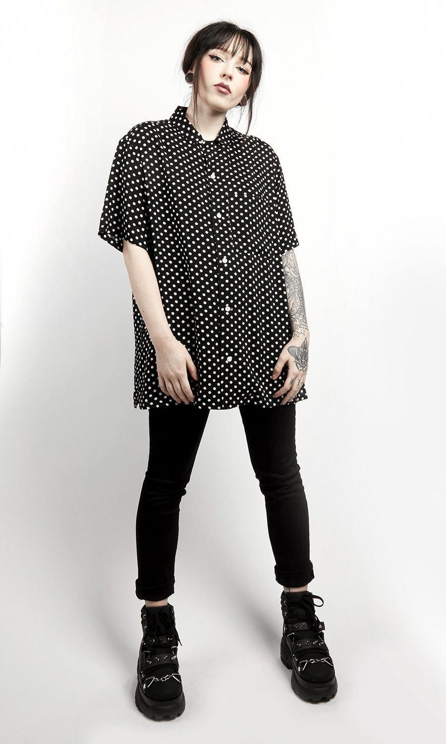 Short sleeve, button-up resort shirt with polka dot all-over print. 100% Rayon #WomensFashionEdgy