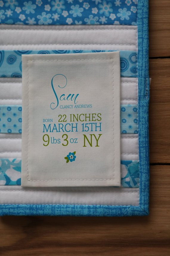Boy S Birth Stats Quilt Label Personalized Sewing Labels