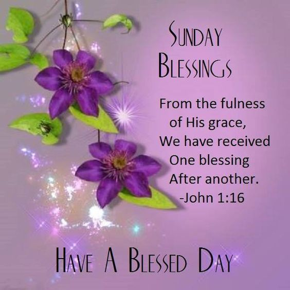 Sunday Blessings Have A Blessed Day John 1:16 good morning ...