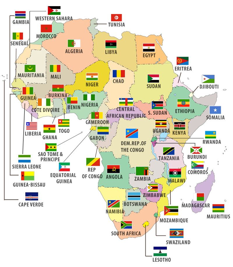 African countries and flags on map  Random factsinfo  Pinterest
