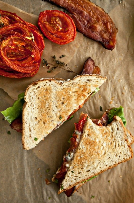 BLT with slow-roasted tomatoes ~ slow-roasted tomatoes sort of winterizes the typical BLT.  (Maybe spinach instead of basic lettuce?)
