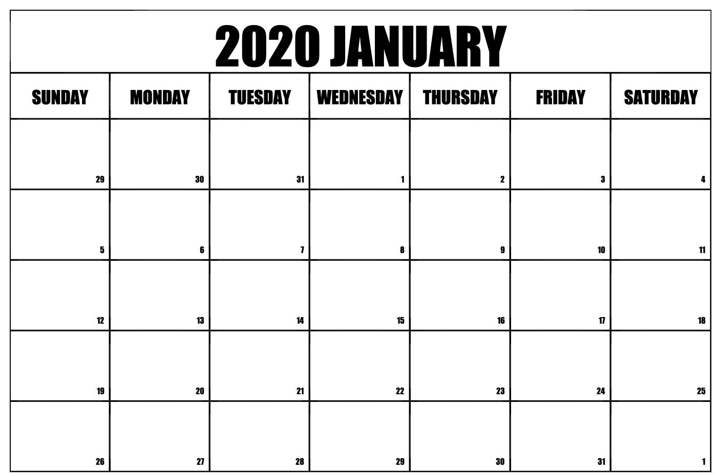 Free Printable January 2020 Calendar Calendar Printables