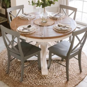 Hart Round Reclaimed Wood Pedestal Extending Dining Table Kitchen Table Decor Farmhouse Kitchen Tables Round Kitchen Table
