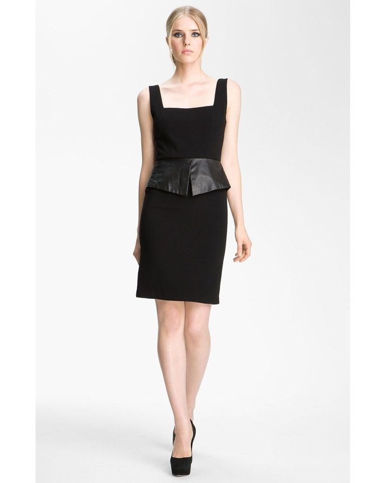 Alice + Olivia Maddy Leather Peplum Dress -Size 8 Holiday Party NEW!!!    eBay