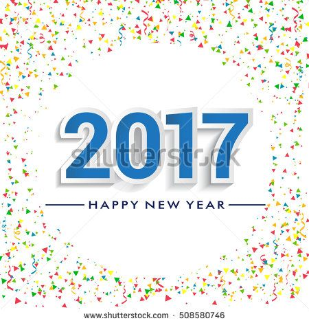 Happy New Year 2017 design with confetti background. Calendar template vector elements for calendar and greeting card.