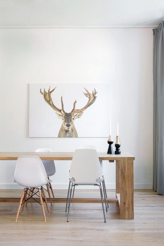 Hertenkop wanddecoratie op hout, poster of canvas. Leuk voor in de ...