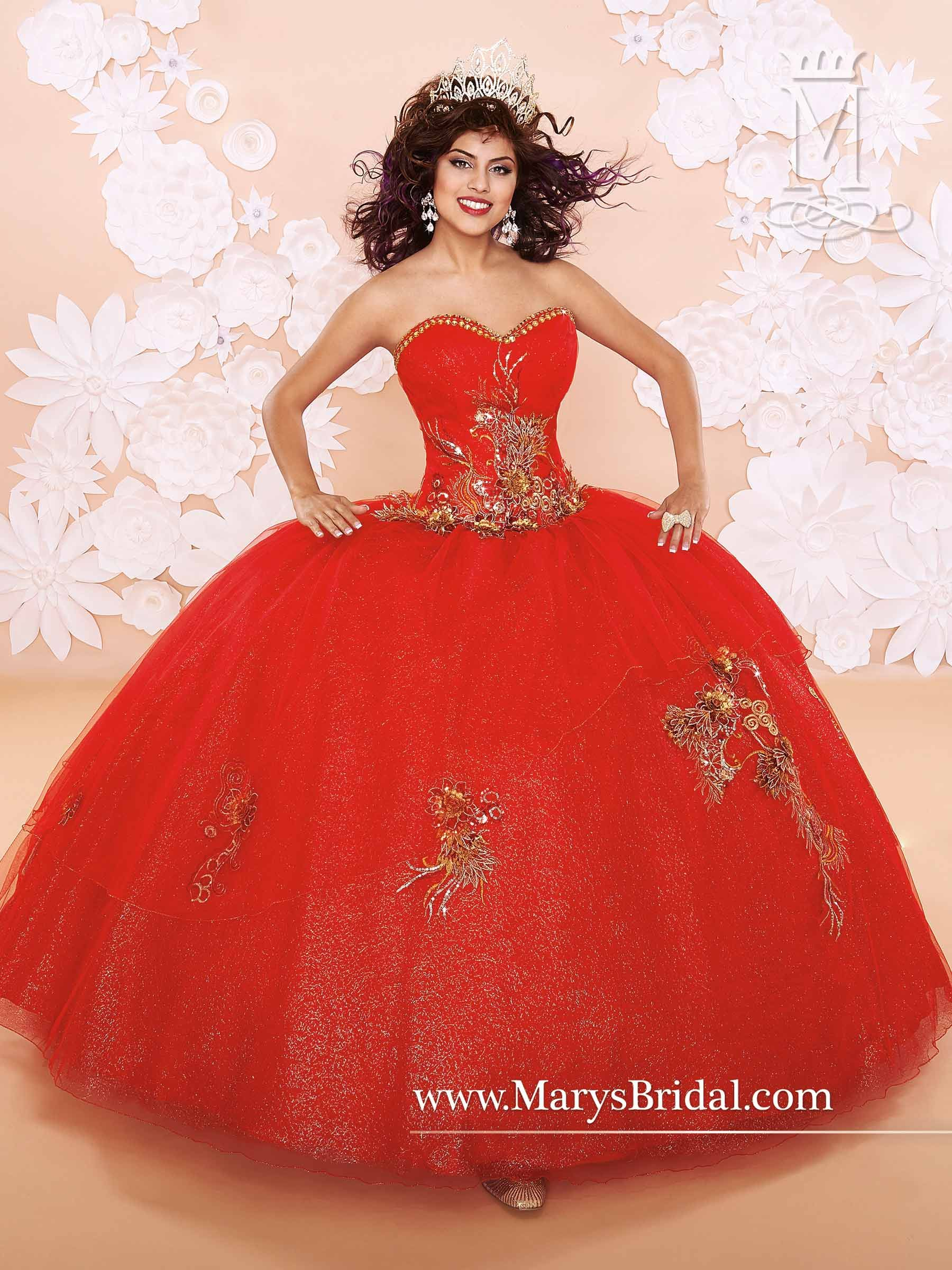 Love the vivid red see it at llayou quinceañera dresses