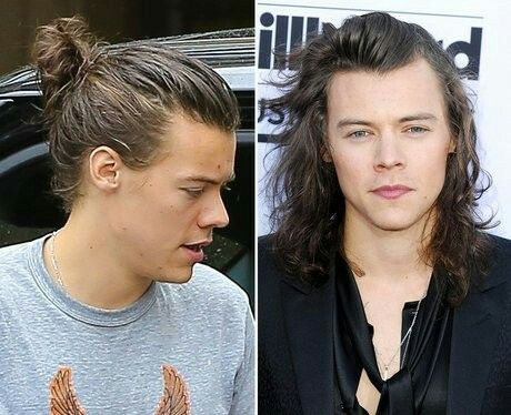 harry styles with hair tied