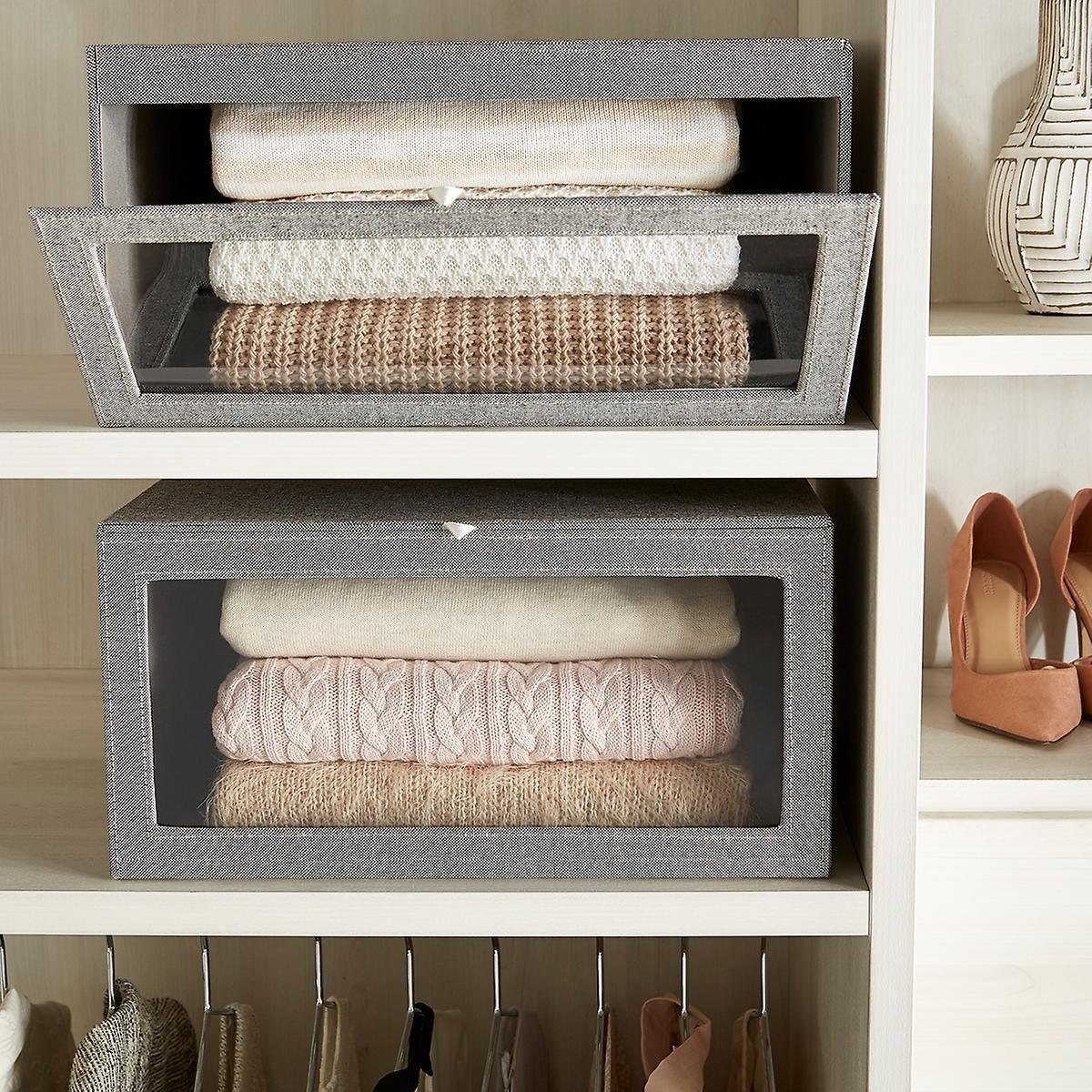 28 Actually Cute Storage Ideas For Every Room In Your Home Sweater Box Sweater Storage Container Store