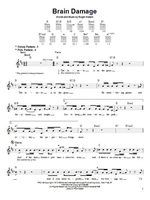 Pink Floyd Brain Damage Sheet Music Notes Chords Score Download Printable Pdf Sheet Music Notes Pink Floyd Guitar Chords And Lyrics