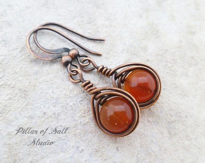 Wire wrapped earrings / handmade Copper jewelry / earthy orange Red ...