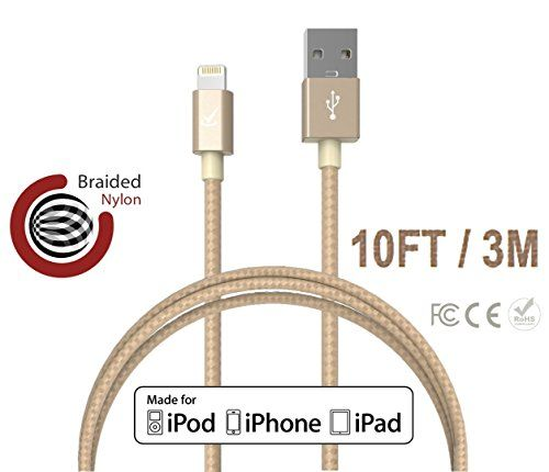 Volts © 10 ft Lightning Cable to USB [Apple MFi Certified] Gold Nylon Braided Charger w/ Aluminum Case on USB & 8-pin Connector for Apple iPhone 6 / 6 plus, iPod, iPad & more (3 meter - Gold) Volts Solutions http://www.amazon.com/dp/B00X5X7JWG/ref=cm_sw_r_pi_dp_dSUawb0PXQNMJ