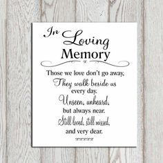 Wedding Memorial Table In Loving Memory Printable Sign Quotes