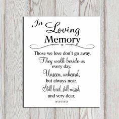 In Loving Memory Printable Memorial Table Wedding By DorindaArt 500