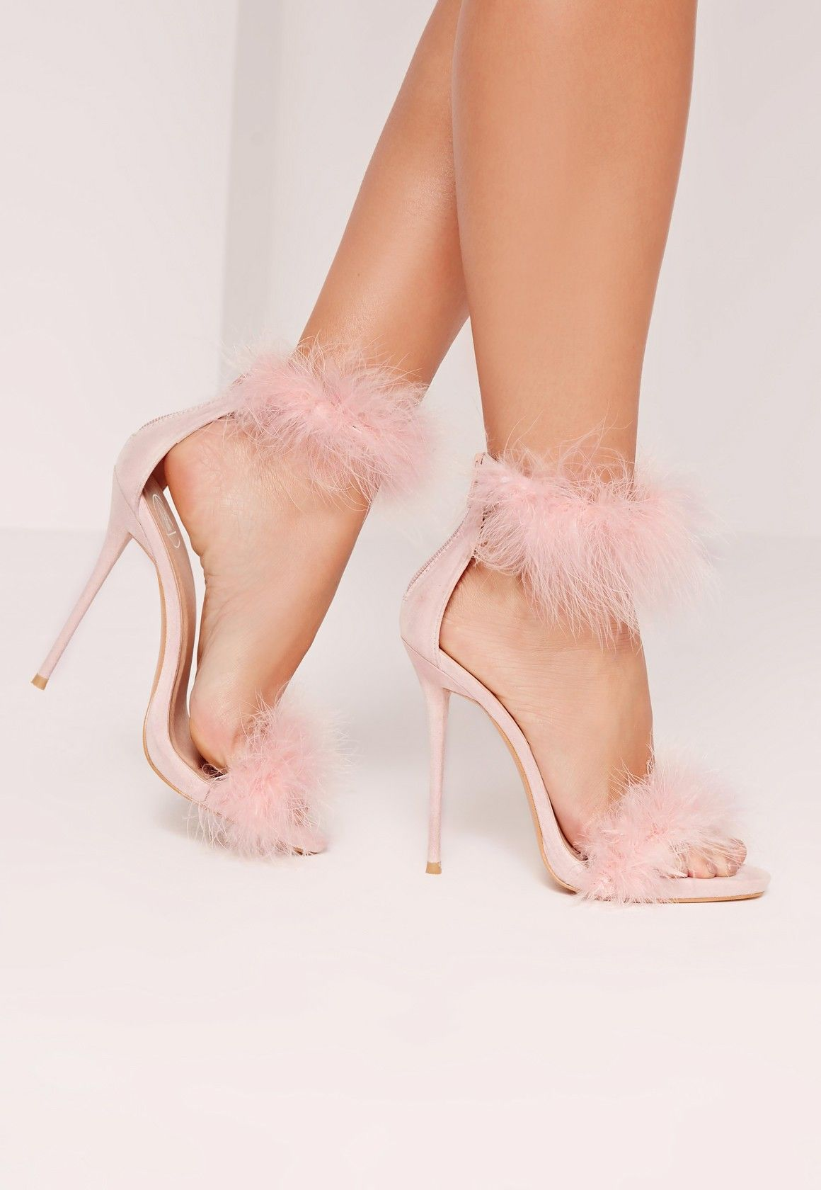 37572597f37281 Missguided - Double Feather Strap Barely There Heels Pink